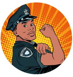 we can do it black policeman african american pop vector image vector image