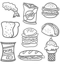 doodle of food collection stock vector image vector image
