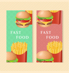 fast food banners with burger and french fries vector image vector image