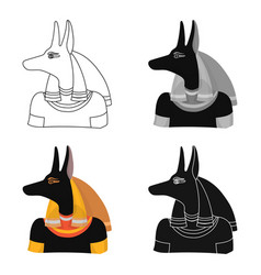 anubis icon in cartoon style isolated on white vector image