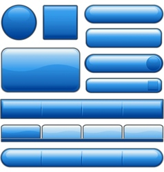 blue glossy website internet media buttons vector image vector image