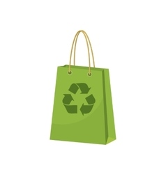 Green paper shopping bag with recycling symbol vector image