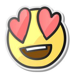 loving eyes emoji - emoticon with hearts eyes vector image vector image