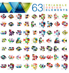 mega collection of 63 modern color triangles vector image