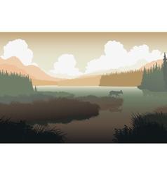 River landscape deer vector image vector image