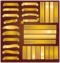 Set gold ribbons and banners vector image
