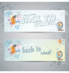 Set with two horizontal banners with globe vector image vector image