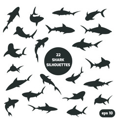 22 shark silhouettes set vector image vector image