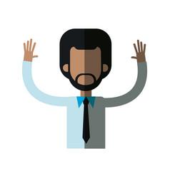 african man male hands up necktie shirt vector image