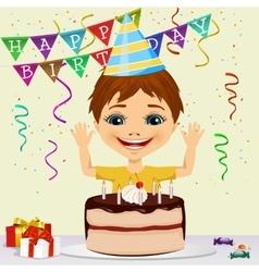 boy celebrating his birthday smiling vector image
