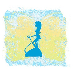 Girl on the exercise bike - Grunge Background vector image vector image