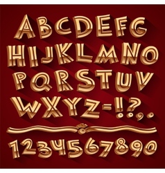 Golden Retro 3D Font with Strips on Red Background vector image vector image