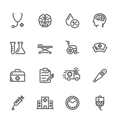 medical icons set hospital and er line icons vector image vector image