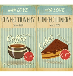 Vintage two Cards Cafe confectionery dessert Menu vector image vector image
