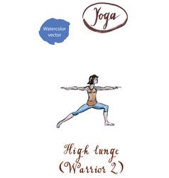 young woman practicing yoga asana virabhadrasana vector image vector image