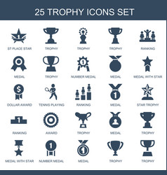 25 trophy icons vector