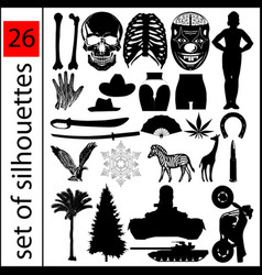 A set various silhouettes in amount 26 vector