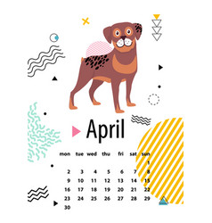 April calendar for 2018 year with loyal rottweiler vector