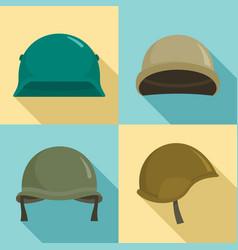 army helmet icon set flat style vector image
