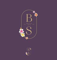 Beauty and spa salon logo b and s monogram vector