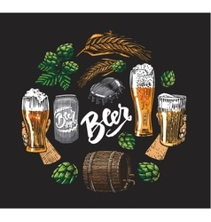 Beer Hop Elements In Circle vector