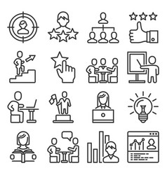 business and managing skills icons set line style vector image