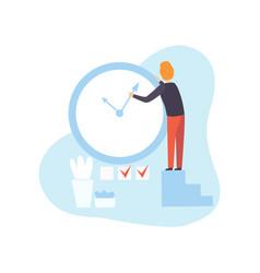 businessman stopping arrow clock man planning vector image