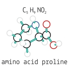 C5H9NO2 proline amino acid molecule vector image