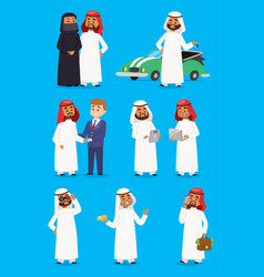 Cartoon arabic businessman characters in vector