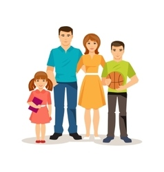 Cartoon family on the white background vector