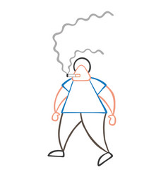 cartoon man walking and smoking cigarette vector image