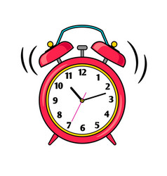 Cartoon red ringing alarm clock vector