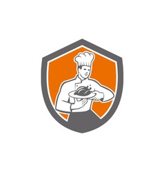 Chef Cook Serving Chicken Platter Shield Retro vector image
