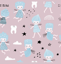 Childish seamless pattern with cute fairy vector