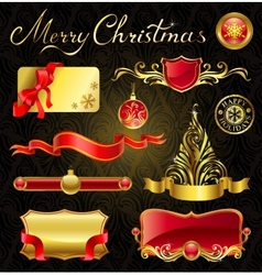 Christmas golden design elements and magnificent vector