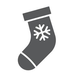 christmas stocking glyph icon christmas vector image
