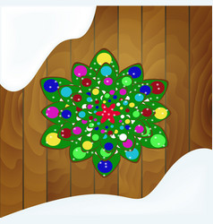 christmas tree of cookies with green glaze on a vector image