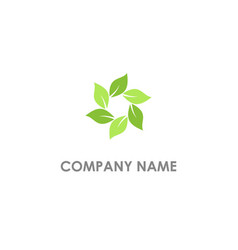 circle leaf flower logo vector image