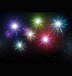 Colourful fireworks display background vector