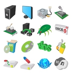 Computer service icons set cartoon style vector