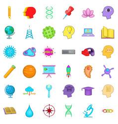 Creative puzzle icons set cartoon style vector