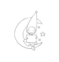 Cute gnome on moon pillow and blanket vector