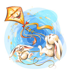 cute little rabbits fly on a kite vector image