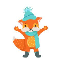 Cute orange fox character wearing in a light blue vector