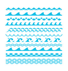 decorative blue sea waves water marine vector image