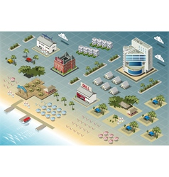 Detailed of Isometric Seaside Buildings vector image