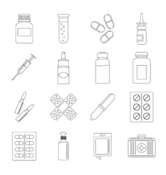 Different drugs icons set outline style vector