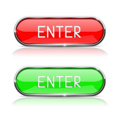 Enter buttons red and green oval glass buttons vector