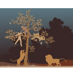 Escaping from lions vector image