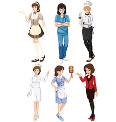 Females with different works vector